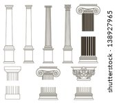 set of old-style greece column. eps10 vector illustration - stock vector