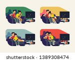 couple watching tv series.... | Shutterstock .eps vector #1389308474