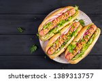 hot dog with  sausage  cucumber ... | Shutterstock . vector #1389313757