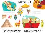 flat mexican elements... | Shutterstock .eps vector #1389339857