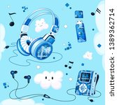 set of musical accessories with ... | Shutterstock .eps vector #1389362714