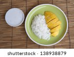 Thai dessert, Mango with sticky rice. - stock photo