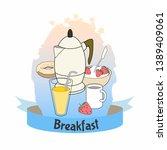 poster of breakfast food.... | Shutterstock .eps vector #1389409061