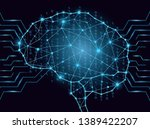 binary code in digital brain... | Shutterstock .eps vector #1389422207