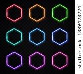 hexagon neon banners set.... | Shutterstock .eps vector #1389423224