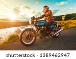 motorcycle driver riding in... | Shutterstock . vector #1389462947