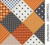 patchwork  quilt  fabric scraps ... | Shutterstock .eps vector #1389474521