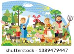 colorful decorative cute family ... | Shutterstock .eps vector #1389479447