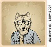 wolf hipster in a jacket on a... | Shutterstock .eps vector #138948029