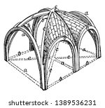 sexpartite ribbed vault ... | Shutterstock .eps vector #1389536231