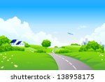 green landscape with road trees ... | Shutterstock . vector #138958175