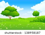 green landscape with lake trees ... | Shutterstock . vector #138958187