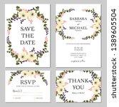 floral wedding invitation... | Shutterstock .eps vector #1389605504