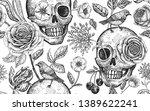 floral seamless pattern. skulls ... | Shutterstock .eps vector #1389622241
