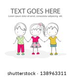cute kids holding hands... | Shutterstock .eps vector #138963311