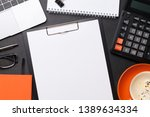office workplace table with... | Shutterstock . vector #1389634334