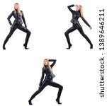 dancing woman in black leather... | Shutterstock . vector #1389646211