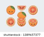 orange cute kawaii mascot. set... | Shutterstock .eps vector #1389657377