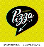 pizza logo in bubble cloud with ... | Shutterstock .eps vector #1389669641