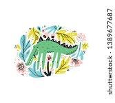 cute crocodile flat hand drawn... | Shutterstock .eps vector #1389677687