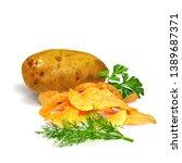 potato chips whit green parsley ... | Shutterstock .eps vector #1389687371