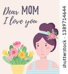 happy mothers day. cartoon... | Shutterstock .eps vector #1389714644