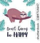 cute hand drawn vector sloth... | Shutterstock .eps vector #1389714647