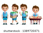 school boy vector character set.... | Shutterstock .eps vector #1389720371