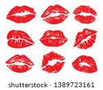 Print of lips kiss vector background