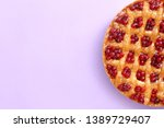 tasty cranberry pie on color... | Shutterstock . vector #1389729407