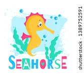 illustration with cute seahorse.... | Shutterstock .eps vector #1389752591