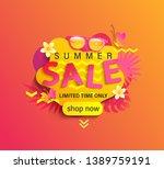 summer sale  shop now banner... | Shutterstock .eps vector #1389759191