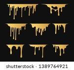 set of hand drawn golden paint... | Shutterstock .eps vector #1389764921