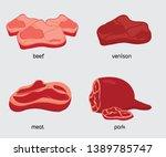 fresh beef  meat  pork  venison ... | Shutterstock .eps vector #1389785747