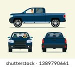 pickup truck two angle set. car ... | Shutterstock .eps vector #1389790661