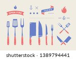 vintage meat set. set of meat... | Shutterstock .eps vector #1389794441