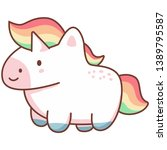 cute kawaii unicorn with... | Shutterstock .eps vector #1389795587