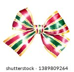 Watercolor Present  Bow. Hand...