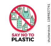 say no to plastic banner with... | Shutterstock .eps vector #1389827741