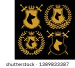 heraldic symbol icon set with... | Shutterstock .eps vector #1389833387