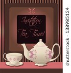 invitation card for tea party | Shutterstock .eps vector #138985124