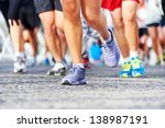 marathon running race people... | Shutterstock . vector #138987191