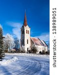 church, winter shot in Estonia - stock photo