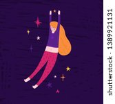 pretty girl floating in space.... | Shutterstock .eps vector #1389921131