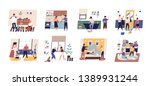collection of cute funny people ... | Shutterstock .eps vector #1389931244