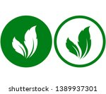 green and white leaves icons in ... | Shutterstock .eps vector #1389937301
