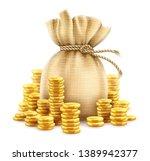 full sack of cash money corded... | Shutterstock .eps vector #1389942377