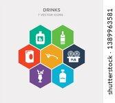 simple set of liquor  mai thai  ... | Shutterstock .eps vector #1389963581