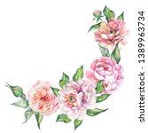 flowers illustration with... | Shutterstock . vector #1389963734