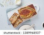 banana bread. cake with banana  ...   Shutterstock . vector #1389968537